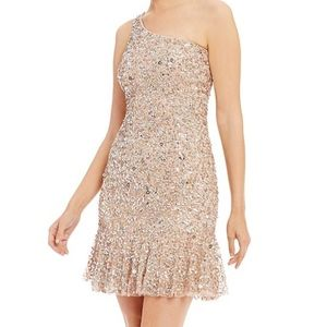 Adrianna Papell One shoulder sequin gown New